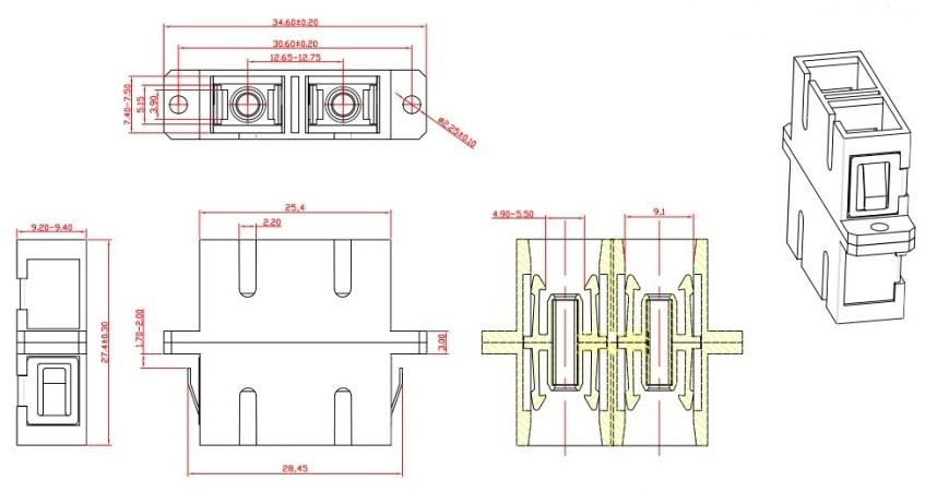 Hyperline FA-P11Z-DSC/DSC-N/BK-BG Оптический проходной адаптер SC-SC, MM,  duplex, корпус пластиковый, бежевый, черные колпачки