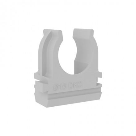 Купить DKC / ДКС 51016 Держатель с защелкой для крепления труб, ф16мм, пластик, RAL 7035 по лучшей цене в Москве